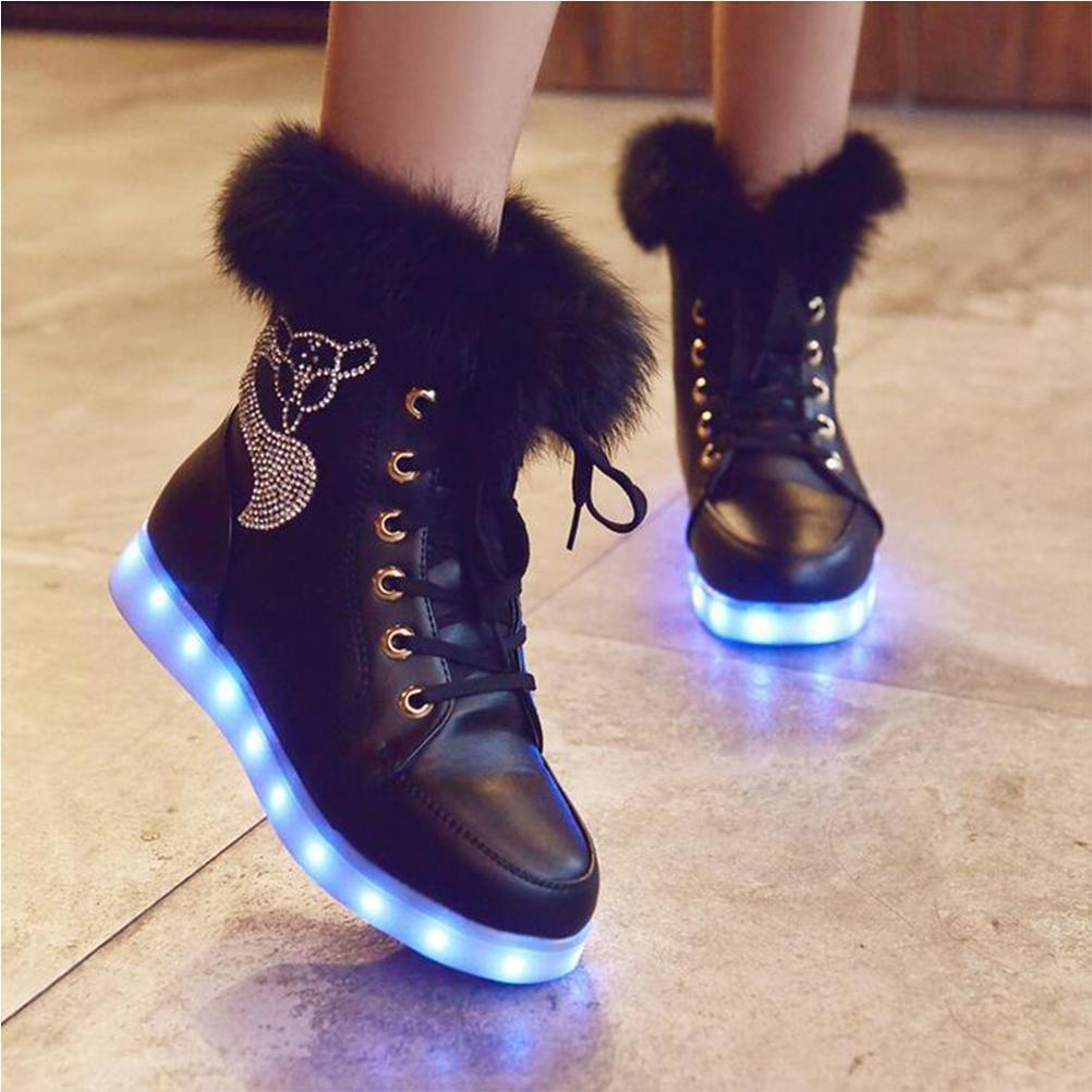 Damen hohe obere LED-helle Schuhe beiläufige flache Schuhe der Art und Weise sieben Farben ändern und elf Arten des blinkenden Modus