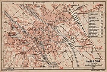 Karte Bamberg Landkarte.Town City Bamberg Antik Stadtplan Bavaria Karte Baedeker