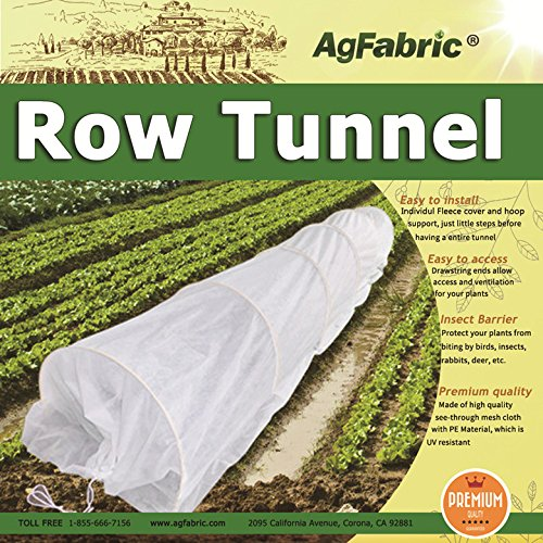 (4X25FT Agfabric Grow Tunnel kit, 0.9oz Floating Row Cover with Tunnel Hoops For Mini Greenhouse,Plant Cover &Frost Blanket for Season Extension and Seed Germination)