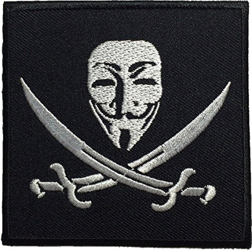[Pirate Flag V for Vendetta Anonymous Guy Fawkes Mask Sewing Iron on Emroidered Patch - Black] (Pun Costumes For Guys)