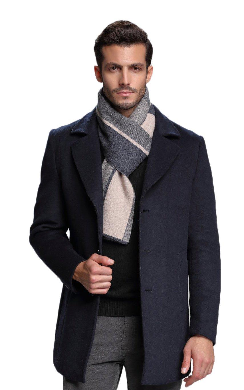 RIONA Men's 100% Australian Merino Wool Scarf Knitted Soft Warm Neckwear with Gift Box (Camel)