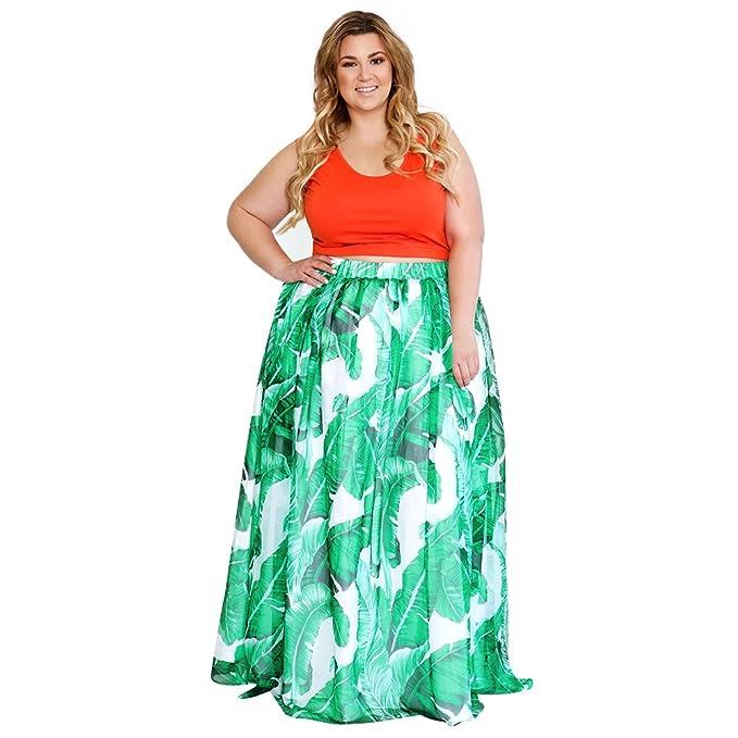 Astra Signature Women Plus Size Boho High Waist Chiffon Palm Leaf Print  Maxi Skirt with Pockets