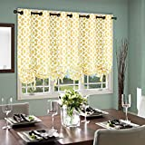 Thermalogic Trellis Cotton Curtains, Tie Up Panel, 40″ x 63″, Yellow