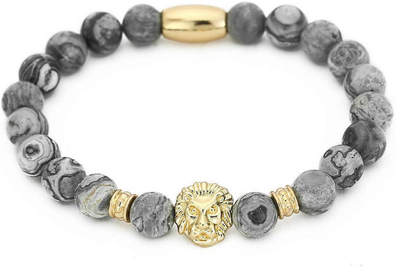 Awertaweyt Pulsera de Cuentas, Fashion Masculinas Natural Marble Stone Lion Head Bracelet Women Pulseras Hombre Bracciali Men's Elastic Bead Bracelet Size M RB1571S