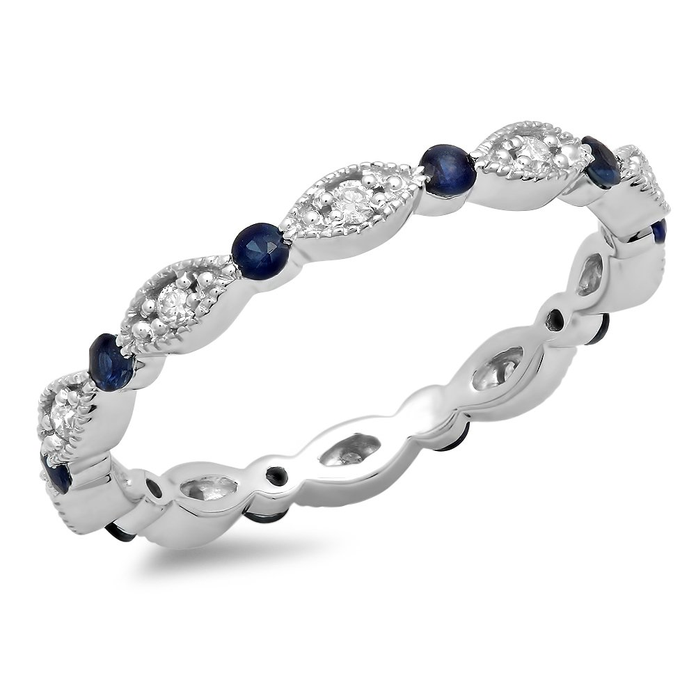 DazzlingRock Collection 10K White Gold Round Blue Sapphire And White Diamond Ladies Wedding Eternity Stackable Band (Size 6)