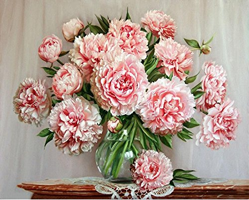 DIY Painting Paint by Numbers for Adults, Beautiful Pink Peony Flower with Brushes Paint for Adults Beginner Painting with Wooden Frame 16x20inch
