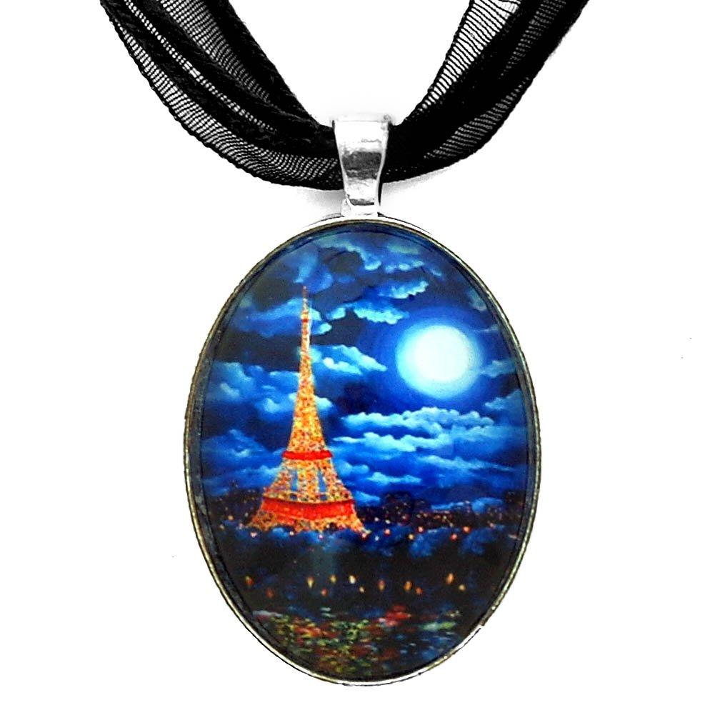 Laura Milnor Iverson Paris at Midnight Lit Up Eiffel Tower Necklace Blue Moon Handmade Jewelry Art Pendant