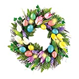 Lighted Easter Egg and Tulip Wreath