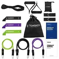 TOMSHOO Bandas Elásticas Fitness Tubo de Resistencia Tonificador para Entrenamiento Fisioterapia Yoga Pilates un Completo Gimnasio