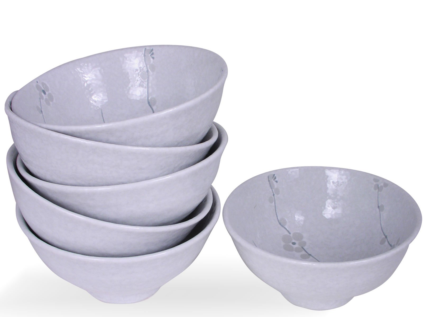 Happy Sales HSRSB-WHCH6, Japanese Rice Bowls, Soup, Cereal, Dessert Bowls 6 pc, White Cherry Blossom