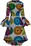 Shenbolen Women African Print Dresses Autumn and Winter Long Sleeves Ankara Dress(XXX-Large,C)