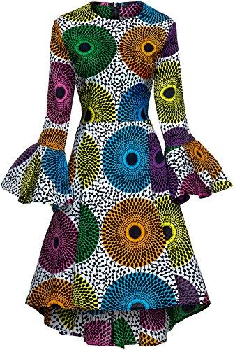 a6557a924ff2 Shenbolen Women African Print Dresses Autumn and Winter Long Sleeves Ankara  Dress(XXX-Large