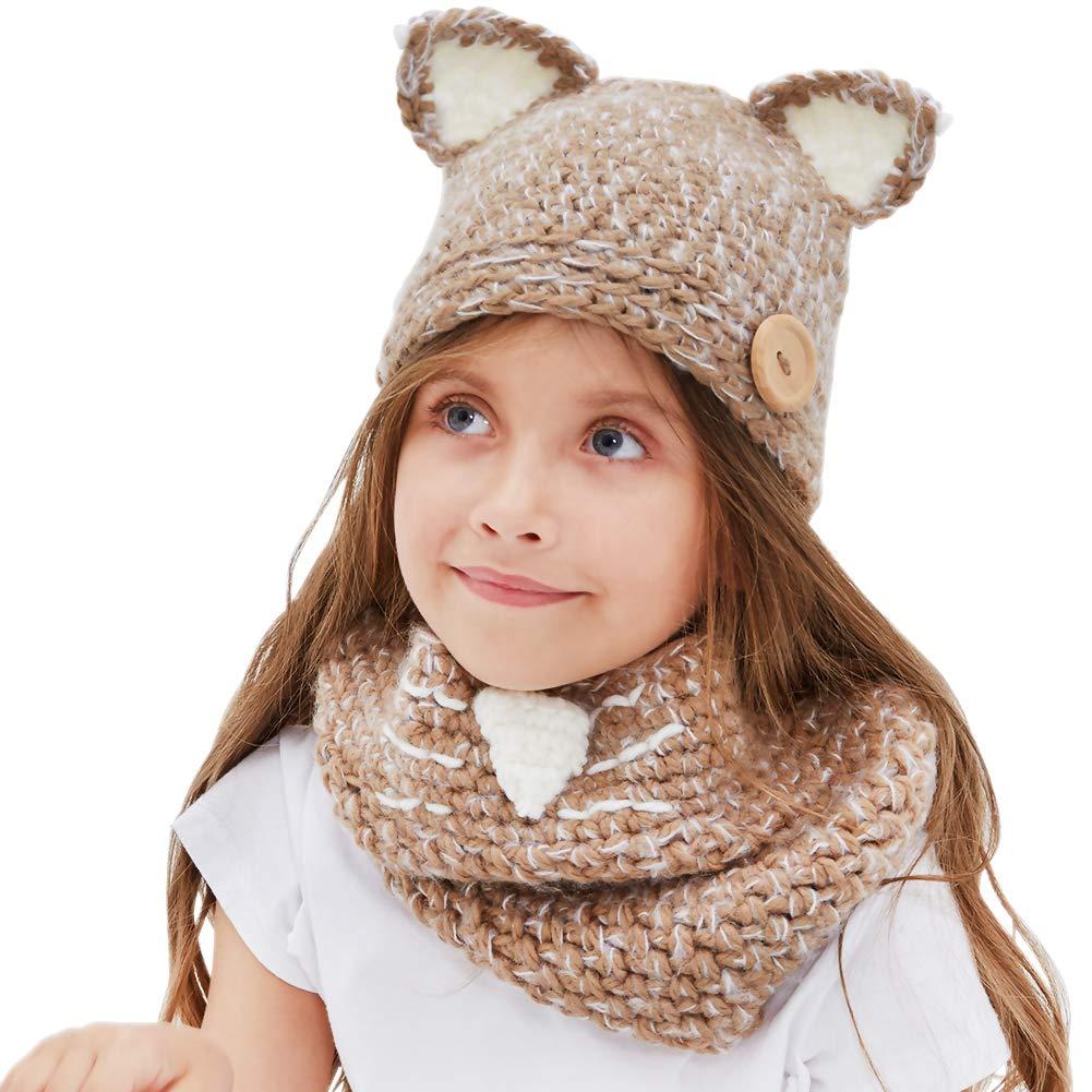 Tacobear Bambino Unicorno Cappelli in Maglia Inverno Sciarpa Animale Cappelli Scialli Cappello Unicorno Autunno Inverno Sciarpa Maglia con Cappello per Ragazzi Ragazze