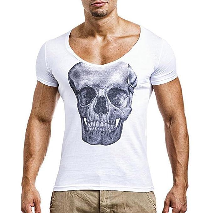 WINWINTOM Moda de Verano Camisetas, 2018 Hombre Camisetas y Polos, Moda Personalidad Hombres Cráneo