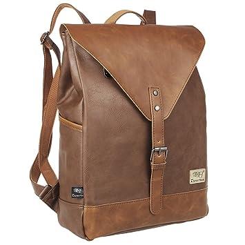 Doumi Vintage PU Leder Rucksack Damen Herren Schulrucksack Laptoprucksack (14