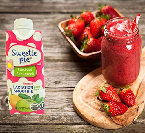 Sweetie Pie Organics Lactation Smoothie, Apple Pear with Flaxseed and Fenugreek, 4 Count by Sweetie Pie Organics