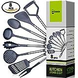 Kitchen Utensil Set - Best Cooking Utensils - Nonstick Spatulas - Nylon Stainless Steel Handles Tools