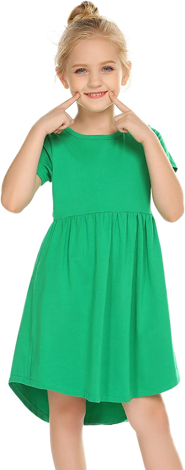 Arshiner Girl Short Sleeve A Line Skater Casual Twirly Casual Dress
