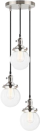 Pathson Island Chandelier Pendant Lighting Fixtures, 3 Lights Vintage Style Globe Clear Glass Shade Indoor Hanging Lights Brushed Steel