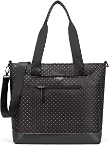 Ladies Laptop Tote Bag,DTBG Stylish Large Womens Business Laptop Shoulder Bag Work Tote Purse Office Messenger Briefcase Travel Shopping Handbag with Strap for Up to 15 Inch Laptop, Black Red-dot