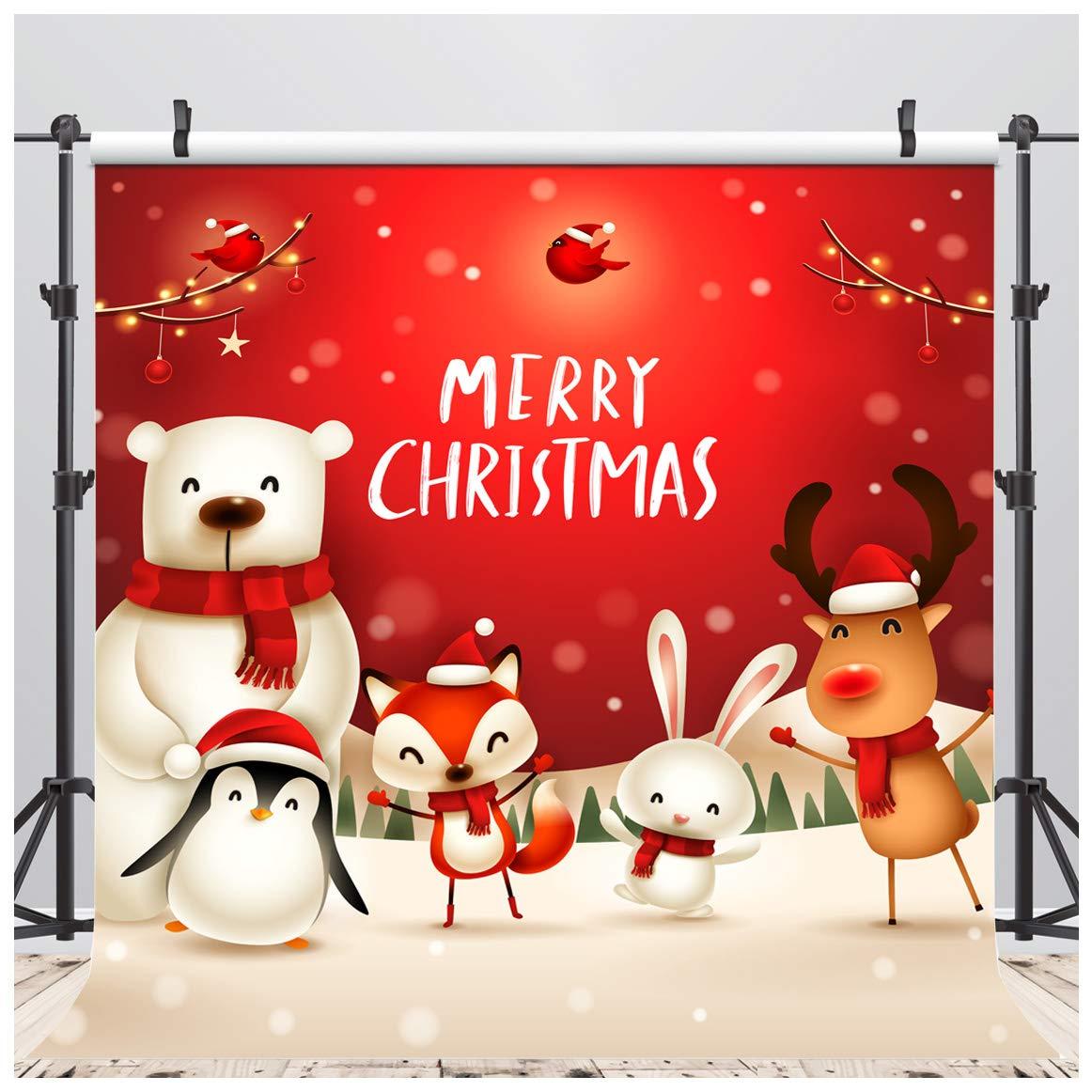 LYWYGG 10x10FT Sfondo di Natale Interni Albero di Natale Sfondo Sfondo di Pavimento in Legno Fotografia per la Decorazione del Partito Puntelli di Studio CP-93
