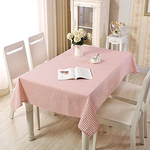 YOUAREFACNY 2017 New Rectangle Tablecloth Gingham Check for Home Kitchen or Out Door Use,Pink & White (Pink Gingham White Check)