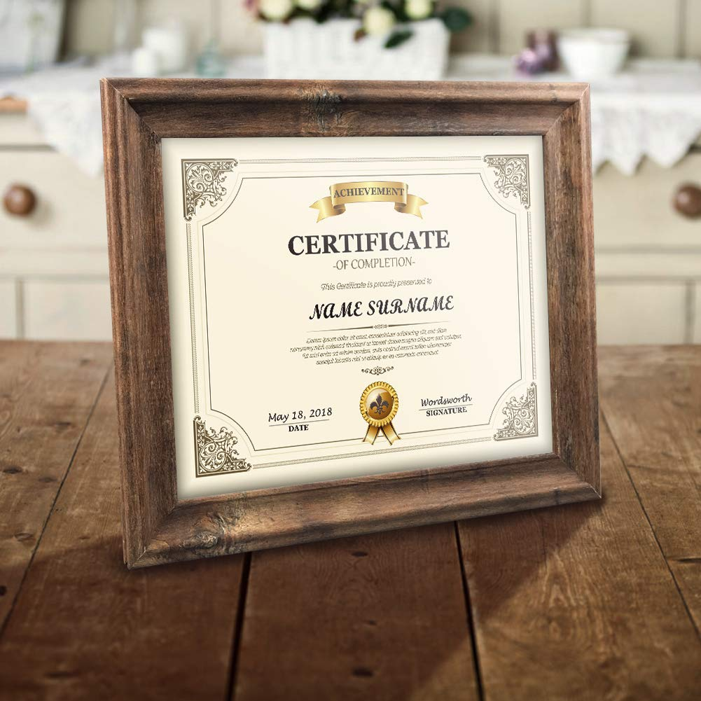 Artsay 8.5x11 Certificate Document Diploma Frame Rustic Distressed Picture Frames 8.5 x 11 Set, Wall Hanging and Tabletop, 2 Pack, Brown by Artsay (Image #4)