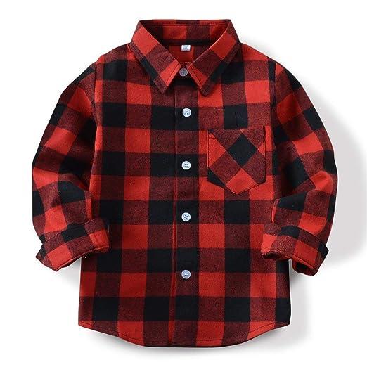 3676b3924bcb Amazon.com: Boys' Long Sleeve Button Down Plaid Flannel Shirt Kids ...