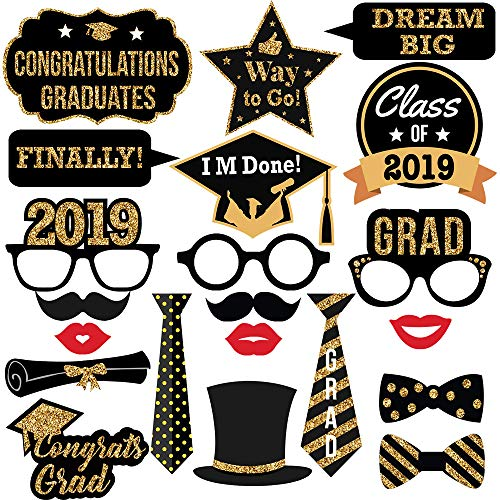 Graduation Photo Booth Props-2019 Real Gold Glitter for Graduation Party Favors Supplies Decorations -