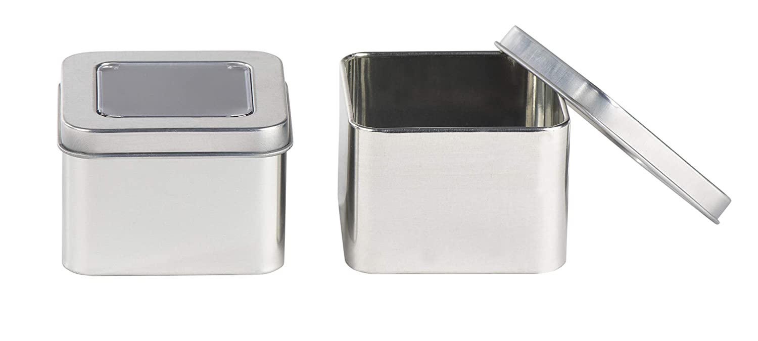Silver Gifts 12-Pack 6-Ounce Empty Cube Steel Box Storage Container for Treats Juvale Square Tin Can with Clear Top Lid 2.7 x 1.75 x 2.7 Inches Favors and Crafts