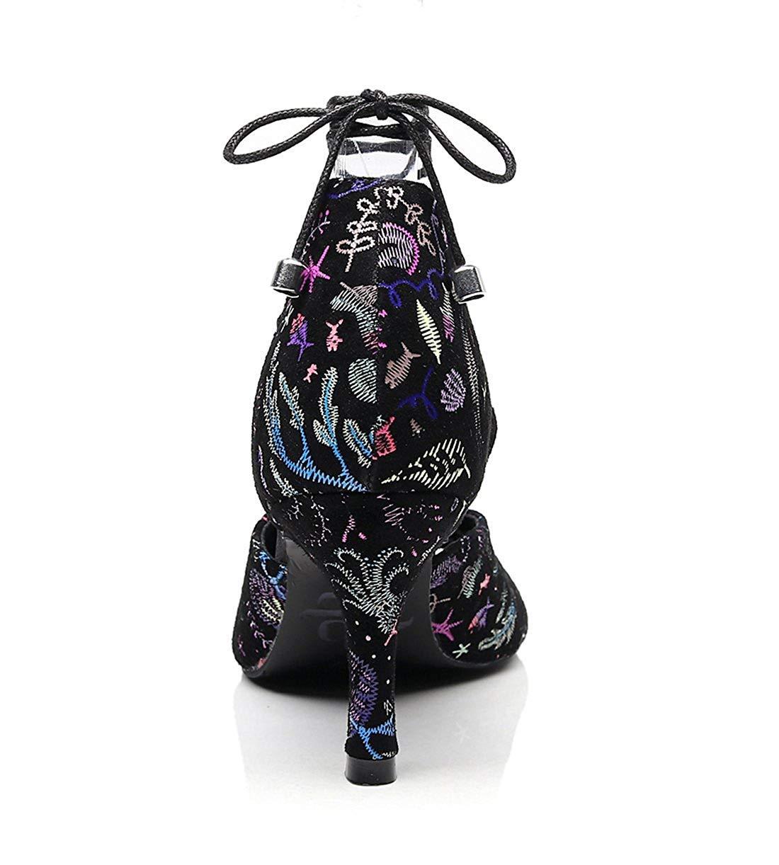 Qiusa Damen Lace-up Fashion Designer High Heel Latin Tanzschuhe Abend Abend Abend Sandalen (Farbe   schwarz-7.5cm Heel Größe   5 UK) 6b1869