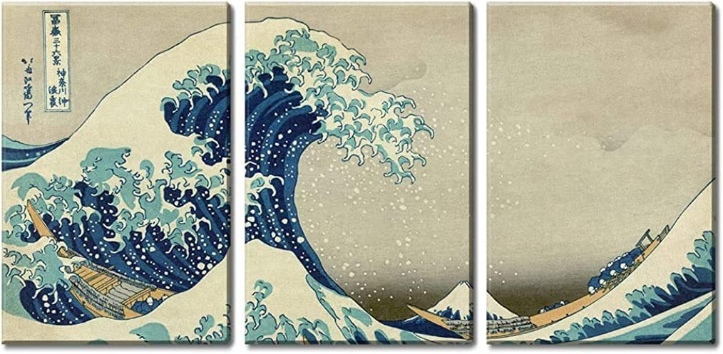 """wall26 3 Panel World Famous Painting Reproduction on Canvas Wall Art - The Great Wave Off Kanagawa by Hokusai - Modern Home Art Ready to Hang - 24""""x36"""" x 3 Panels"""