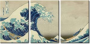 "wall26 3 Panel World Famous Painting Reproduction on Canvas Wall Art - The Great Wave Off Kanagawa by Hokusai - Modern Home Art Ready to Hang - 24""x36"" x 3 Panels"
