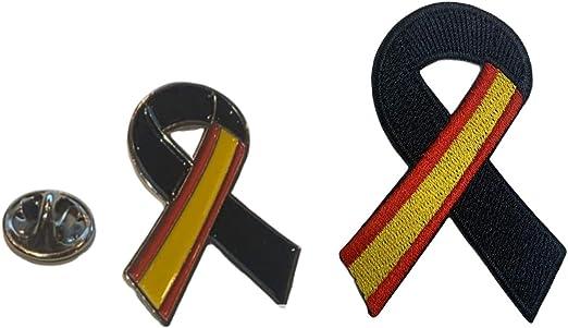 Gemelolandia Pin Bandera España Lazo Negro Parche bordado lazo negro Pin España Bandera con Crespón Luto Unidad o Pack: Amazon.es: Hogar