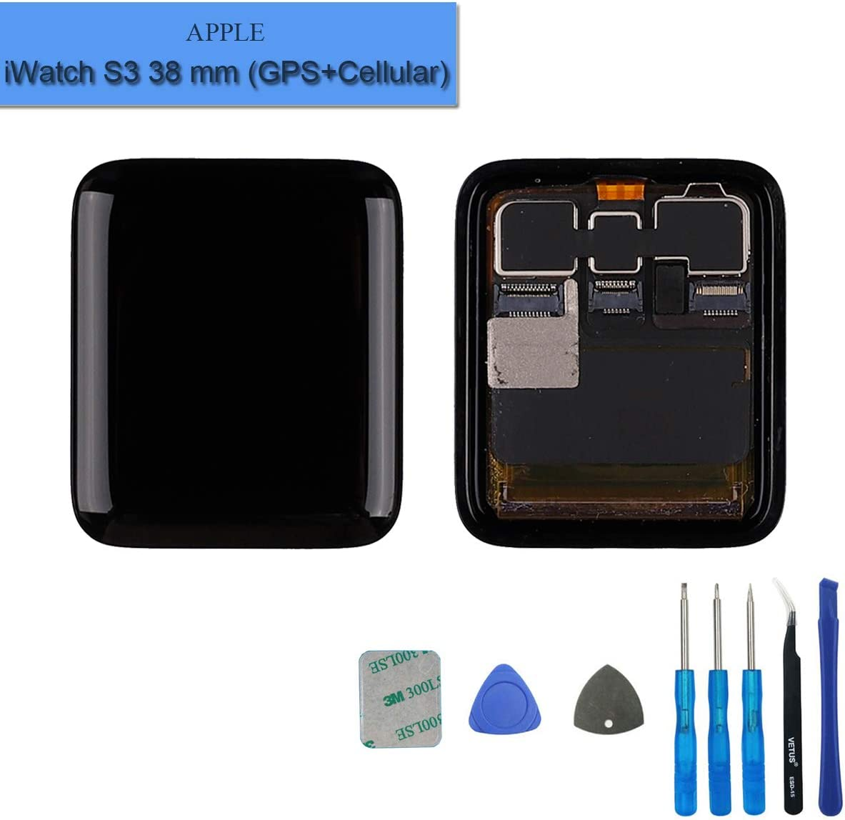 New Replacement LCD Screen Compatible with Apple Watch Series 3st 38mm (3nd Generation) GPS+Cellular LCD Touch Screen Display Assembly with Tools