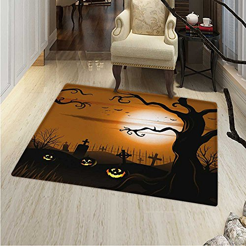 Halloween Area Rug Leafless Creepy Tree Twiggy Branches at Night in Cemetery Graphic Drawing Indoor/Outdoor Area Rug 2'x3' Brown Tan -