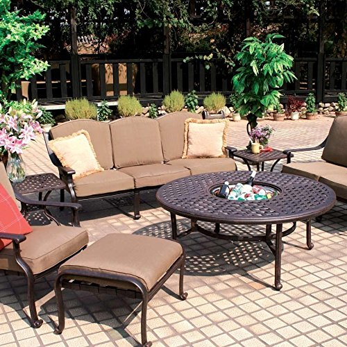 (Darlee Ten Star 7 Piece Cast Aluminum Patio Conversation Seating Set - Chat Table with Ice Bucket Insert)
