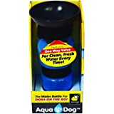 Aqua Dog Blue Portable No Spill 18 Oz Dog Water Bottle by BulbHead - As Seen on TV - On the Go Dog Water Bowl Keeps Dogs of all Sizes Hydrated - Great for Walks, Dog Park, Beach, Road Trips, and More