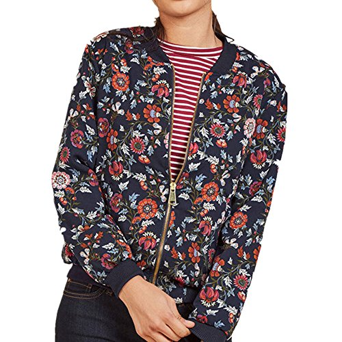 - TOPUNDER Women Casual Print Zipper Vintage Blazer Jacket Coat Outwear Blouse (XL, Navy)