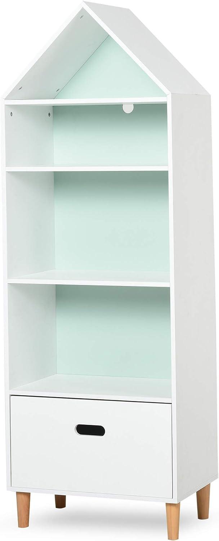HOMCOM Estantería Infantil Librería de Madera para Niños para Libros Juguetes DVDs con 4 Estantes 1 Cajón Tablero de 2 Colores Diseño Compacto ...