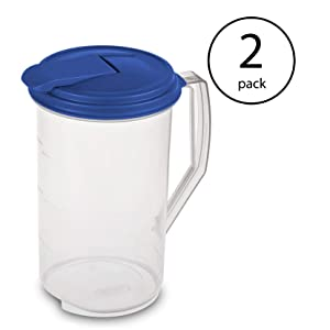 Sterilite2 x 2 quart Round Pitcher, Blue Sky Lid with Clear base, Pack of 2