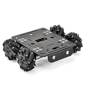 OSOYOO 4WD Omni Wheel Robotic Mecanum Wheel Robot Car Platform Chassis with DC Speed Encoder Motor for Arduino/Raspberry Pi