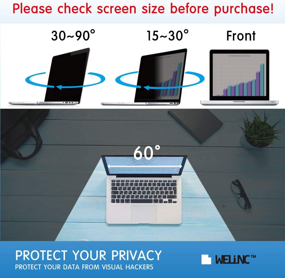 Laptop Privacy Screen Filter for Widescreen Laptop Notebook We Offer 2 Different 17 Filter Sizes Anti-Scratch Protector Film 16:10 Aspect Ratio WELINC 17 Inch Anti-Glare