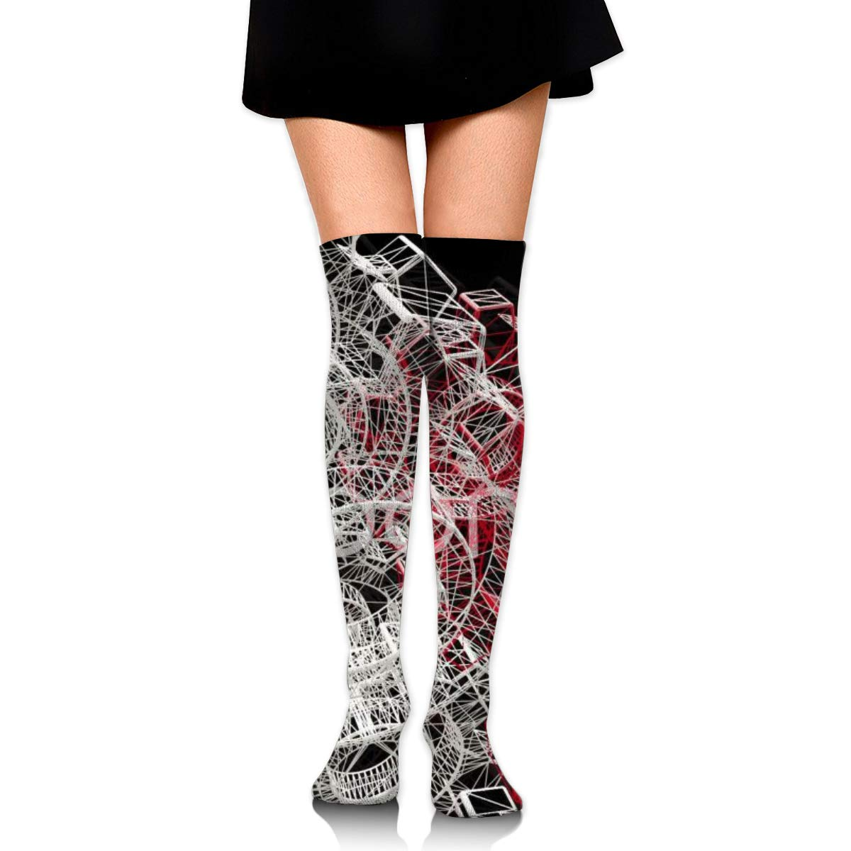 Women Crew Socks Thigh High Knee Gears Black Red Long Tube Dress Legging Casual Compression Stocking