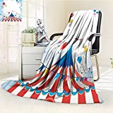 Throw Blanket Circus Circus Day Canvas Tents Stratus Cloudy Entertainment Warm Microfiber All Season Blanket for Bed or Couch