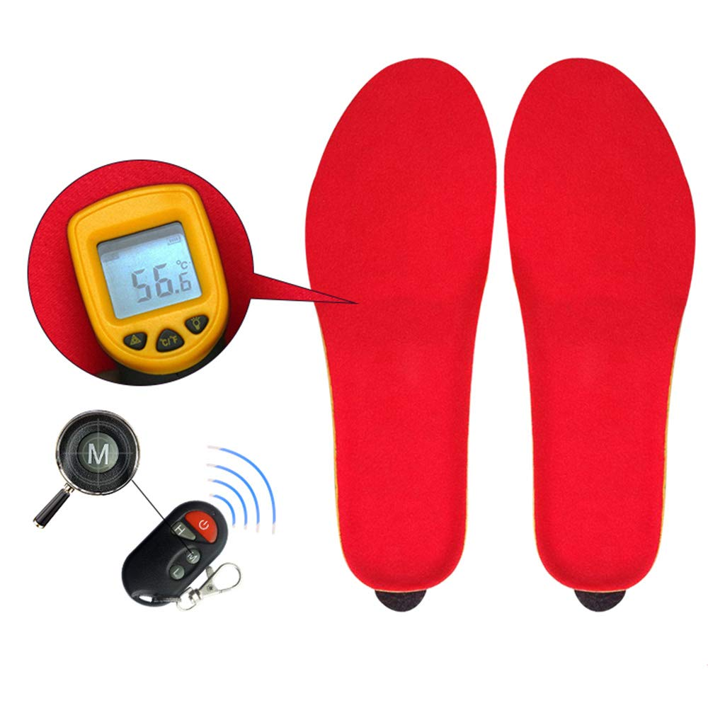 XAJGW Winter Warm Electric Heated Insoles with Remote Control 1800mAh Battery Heating Shoe Insoles Pads for Skiing/Camping (Color : RED)