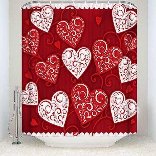 Shower Curtain,3D Digital Print Bathroom Curtains Red Heart Pattern 48