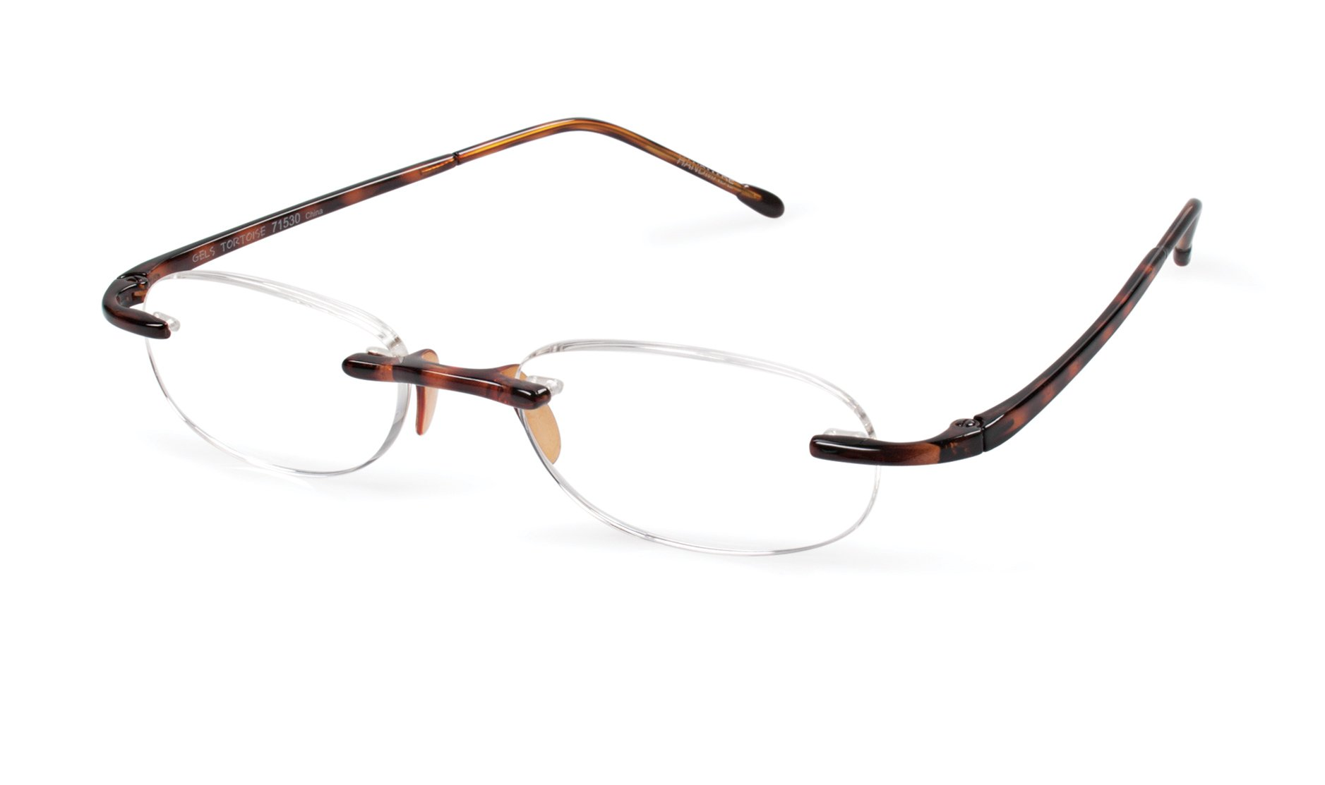 Gels - Lightweight Rimless Fashion Readers - The Original Reading Glasses for Men and Women - Tortoise (+1.50 Magnification Power) by Scojo New York (Image #1)