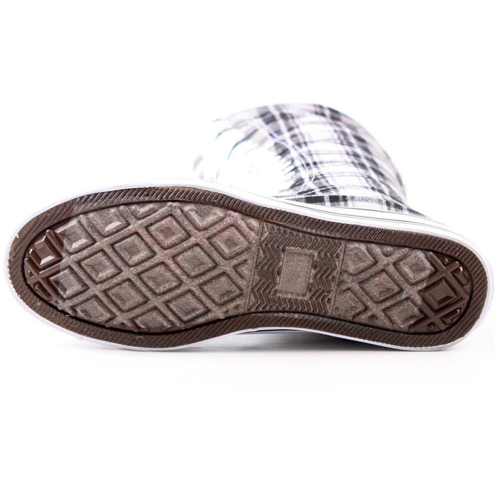 New Fasion Women Canvas Sneakers Punk flat Skatter Knee High Lace up Shoes (7;5, Graffiti) B0174HYF6G 11 B(M) US|Grey Plaid