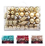 AMS 72ct Christmas Ball Assorted Pendant Shatterproof Ball Ornament Set Seasonal Decorations with Reusable Hand-Help Gift Boxes Ideal for Xmas, Holiday and Party (72ct, Gold)